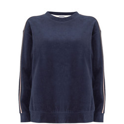 Velour Stripe Sweatshirt