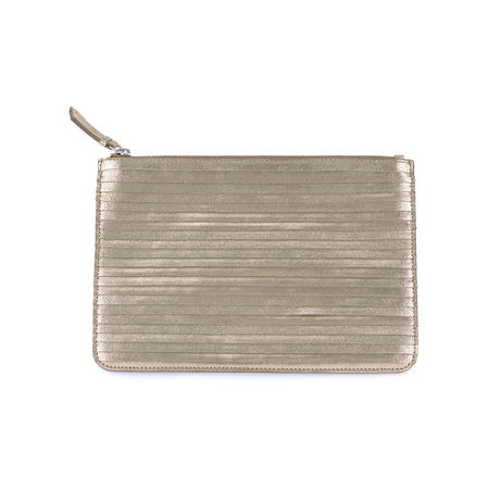 Large Leather Metallic Pouch