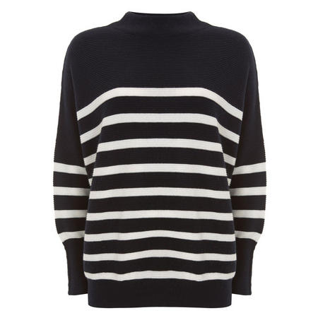 Navy Stripe Funnel Neck Knit Multicolour
