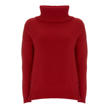 Red Lace Up Side Cowl Knit Red