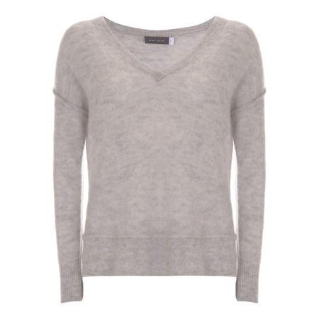 Silver Grey Raw Seam Detail Knit Grey