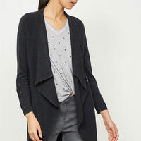Charcoal Lace Up Sleeve Cardigan Grey
