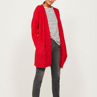 Red Chuck On Fluffy Cardigan Red