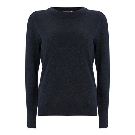 Navy Metallic Fleck Crew Neck Blue