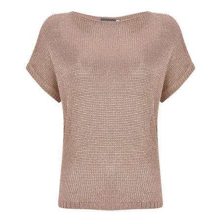 Metallic Slouchy Knitted Tee Grey