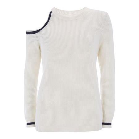 Ivory Cold Shoulder Knit White