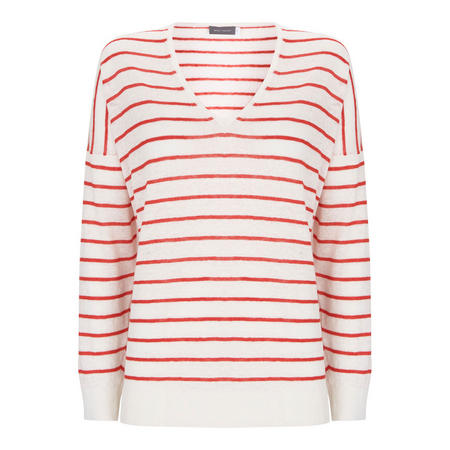 Tomato Stripe V Neck Boxy Knit Multi Colour