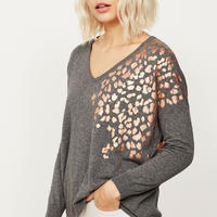 Granite Foil Leopard Print Knit Grey