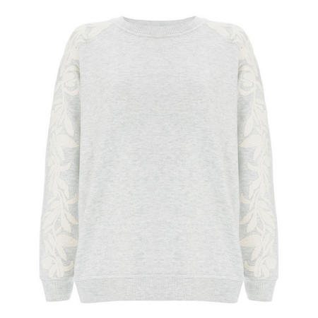 Embroidered Sleeve Knit Sweat Grey