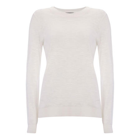 Ivory Simple Crew Knit White