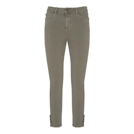 Maui Khaki Button Hem Jean Green