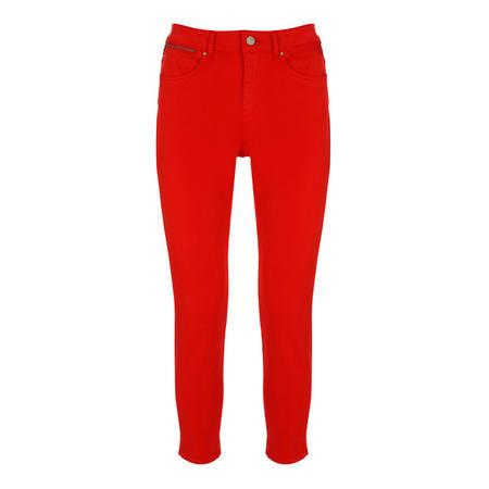 Seattle Red Crop Split Hem Jean Red
