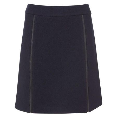Ink Boucle Zip Detail Skirt Blue