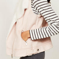 Blossom Faux Fur Aviator Gilet Pink