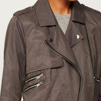 Grey Zip Metallic Trench Coat Grey