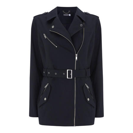 Navy Compact Cotton Trench Blue
