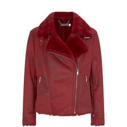 Cherry Faux Fur Biker Jacket