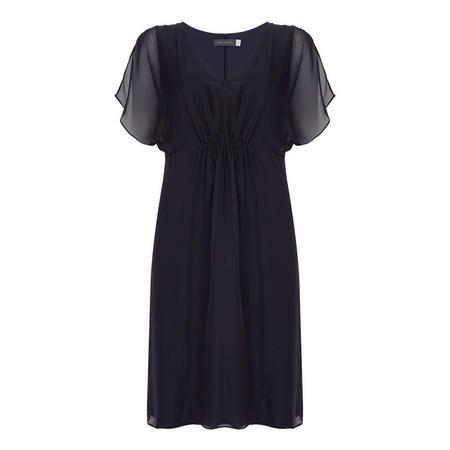 Ink Silk Front Jersey Dress Blue