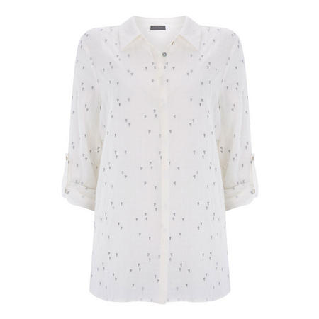 Ivory Heart Embroidered Shirt White