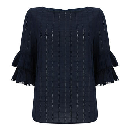 Ink Frill Cuff Broderie Top Blue