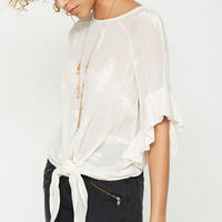 Ivory Embroidered Feather Top White