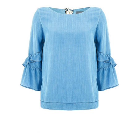 Chambray Fluted Sleeve Blouse Blue
