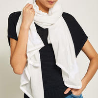 White Embroidered Bird Scarf White