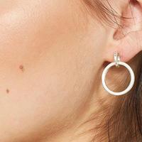 Silver Tone Chunky Hoop Earring Silver