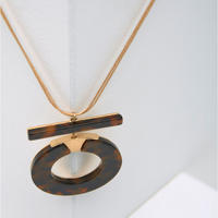 Gold Tone & Tortoise Necklace Gold