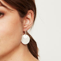 Double Disc Drop Earring Silver