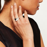Shiny Silver Curve Ring Silver