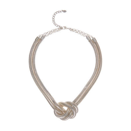 Silver Tone Knotted Statement Necklace Silver