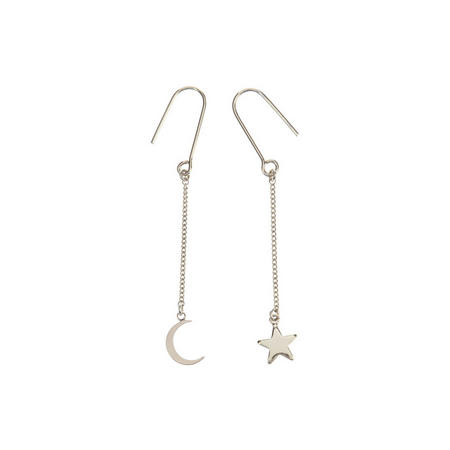 Moon and Star Mismatch Earring Silver