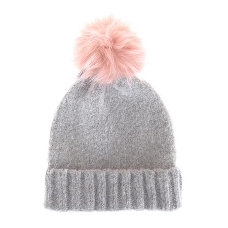 Brushed Texture Pom Pom Hat Grey