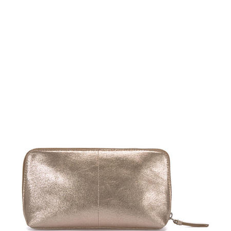 Gold Metallic Small Makeup Bag Gold