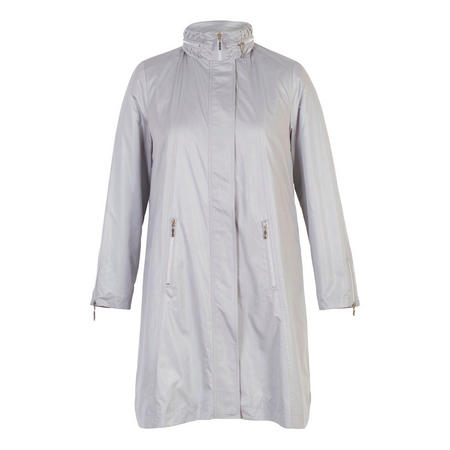 Silver Grey Ruched Collar Zip Detail Pearlised Raincoat