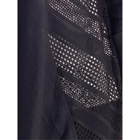 Black Squares & Stripe Mesh Trim Linen Coat