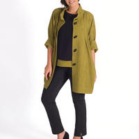 Lime Textured Jacquard Coat Green
