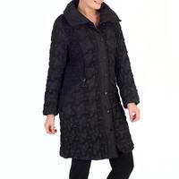 Black Mini Bonfire Trim 3/4 Length Coat