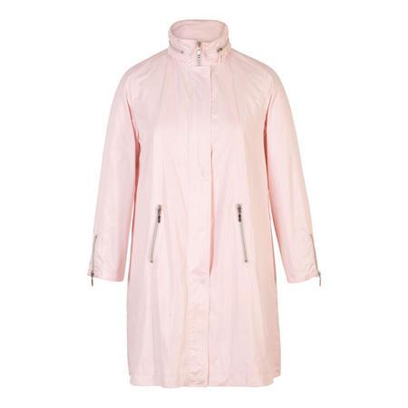 Ruched Collar Zip Detail Pearlised Raincoat