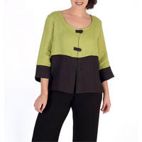 Apple/Black Block Colour Linen Jacket