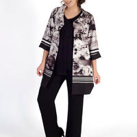 Stripe Border Muted Floral Coat