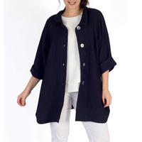 Navy Textured Jacquard Coat