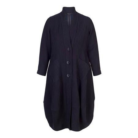 Navy Textured Jacquard Notch Neck Coat