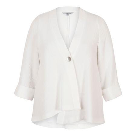 Ivory Asymmetric Textured Jacquard Jacket