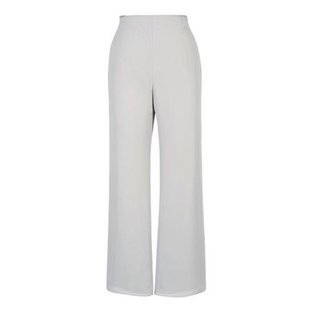 Silver Grey Satin Trim Chiffon Trouser Grey