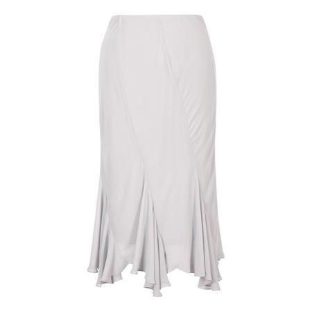 Curved Panel Flared Hem Chiffon Skirt