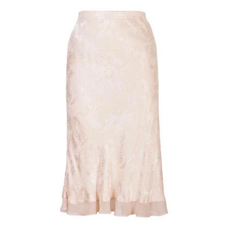 Chiffon Trim Satin Back Crepe Jacquard Skirt