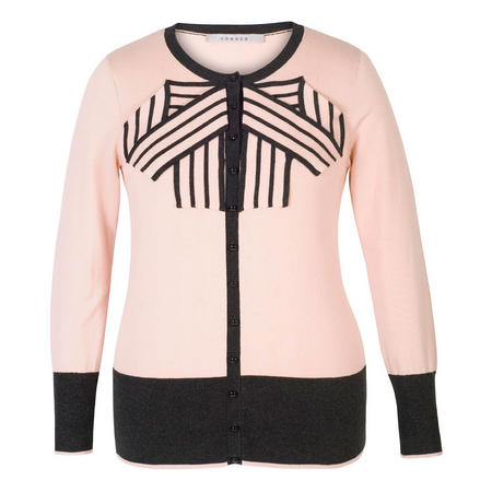 Blush Stripe Bow Trim Jumper Pink