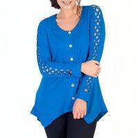 Azure Criss Cross Sleeve Button Through Tunic Blue